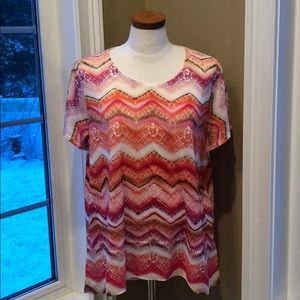 Chico's Size 3 summer top short sleeve. Fabulous!